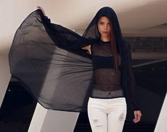 Women's Black Sheer Cape Dress, Transparent Clothing, Transparent Cloak, Transparent Dress, Black Hoodie Dress, Markiiza