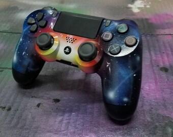 Play Station 4 Controller Custom Painted-Galaxy Burst