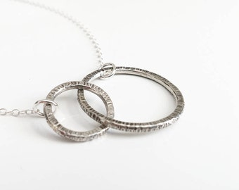 Hammered silver circles necklace, Oxidised necklace, Linked circle necklace, Sterling silver infinity necklace, Silver layered necklace