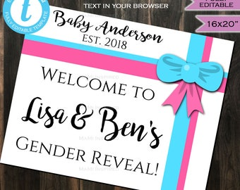 Gender Reveal Welcome Sign Baby Girl Baby Boy Co Bow Pink Blue Party Decorations Board Template Custom Printable INSTANT Self EDITABLE 16x20