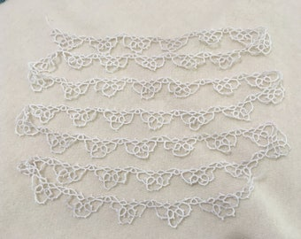 Vintage Hand Tatted Cotton Lace Edging, Lace Trim, 2 Yards 6""