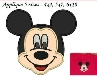 Mickey Mouse Applique Design - Mickey mouse applique face - 3,4,5,6,7 inch INSTANT DOWNLOAD