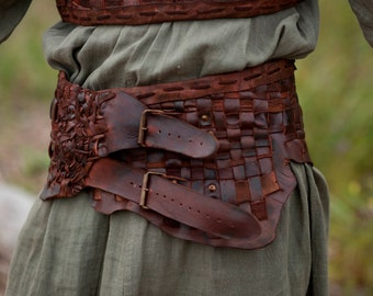 "Medieval Leather Woven Belt ""Floki"" 
