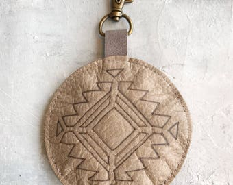 Aztec style leather bag charm