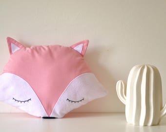 Cushion decorative cotton and felt Fox head / kids room decoration / baby / birth gift