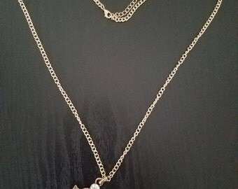 Gold, Navy, and White Anchor Necklace, Gold Necklace, Anchor Necklace, Navy and White Anchor Necklace, Long Necklace