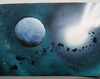 "Asteroids   15"" x 22"" Spray Paint Art"