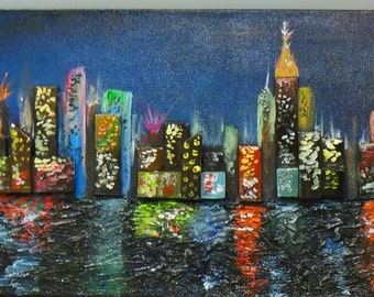 NYC Painting - Abstract City Art - New York Painting - City Scape - Skyline Painting - Kansas Painting - Modern City Painting - Skyscraper
