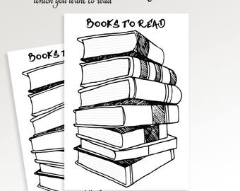 Books to read planner. PRINTABLE. Books to Read List. Books to Buy. Books checklist. Bullet. Reading log. Book list. Instant Download.