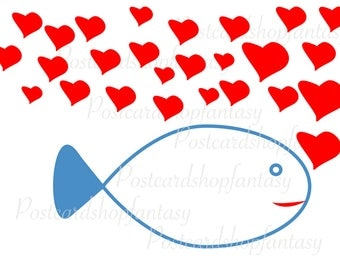 Fish love postcards greeting card fish hearth love card fish papier