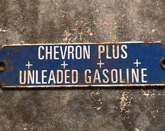 Chevron Plus Unleaded Gasoline Porcelain Sign