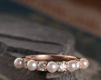 Wedding Band Women Rose Gold Pearl Ring Moissanite Half Eternity Anniversary Ring Unique Bridal Promise Birthstone Delicate White Akoya