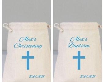 Baptism/Christening Favor Bag, Christening,Baptism Favors,Personalized Bag Cotton Bag Drawstring, Cross, Baby boy baptism, blue baptism