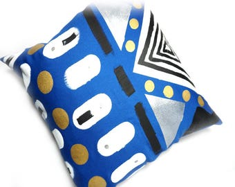 Hand Painted Geometric Pillow Cover, Blue Pillow Cover, Decorative Pillow, Blue and Gold Pillow, Throw Pillow, OOAK Pillow, Triangles Circle