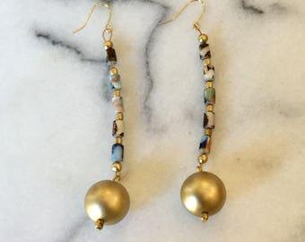 Vintage matte gold ball dangle earrings, multi colored beaded chain
