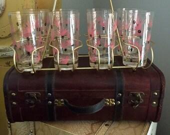 Vintage Pink/Black Drinking Glasses with Carrier