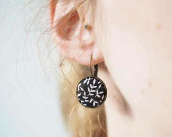 Large Brisur hanging earrings with a floral pattern fabric