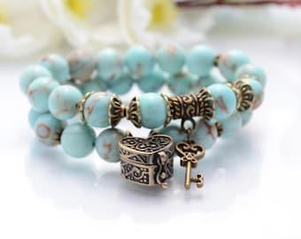 Inspirational Jewelry Womens Gift Gemstone Bracelet Gift for her Bracelet Couple Bracelet Blue Bracelet Turquoise Bracelet Key Bracelet