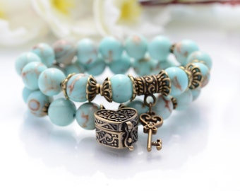 Gift for her Girlfriend Gift Gemstone Bracelet Cool Gift for Woman Bracelet Couple Bracelet Blue Turquoise Bracelet Key Bracelet Jewelry
