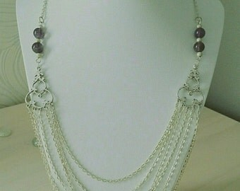 Amethyst semi precious beads and metal chain necklace