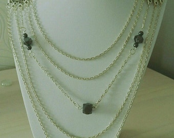 Silver metal with Magnetite beads fashion necklace