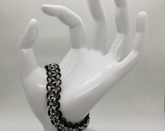 Black and Silver Japanese Lace Chainmaille Bracelet