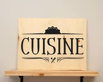 Cuisine - vinyl on varnished wood (choose from 2 sizes and a range of colours) - Home decor