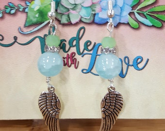 blue wings drop earrings