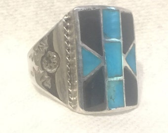Vintage Sterling Silver Ring Southwest  Ring Turquoise  Onyx Ring Men Southwest Ring Size 10