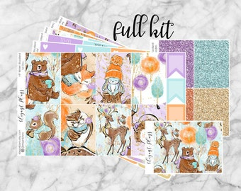 Happy Planner Winter Woodland Full Kit | Weekly Planner Stickers | Full Box Functional Washi Date Cover | Matte Winter Stickers | Weekly Kit