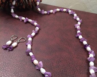 Classy Amethyst and Freshwater Pearl Necklace and Earrings Set