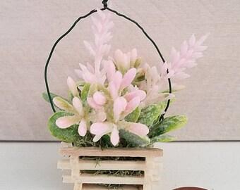 Miniature Flower Basket, Floral Arrangement, Dollhouse Miniatures, Dollhouse Accessory, Basket of Flowers, Succulents, Handmade