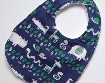 Jammin' jungle animal print terry-lined baby bib