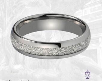 Meteorite Tungsten Wedding Band