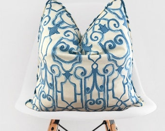 Blue and Beige Pillow Cover / Decorative Blue Throw Pillow / Blue Pillow Cover / Blue and Tan Pillow with Piping