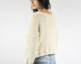 Short hand knitted sweater WEENA - oversize pullover - slouchy top - chunky sweater - winter pullover - bohemian knitwear - women top