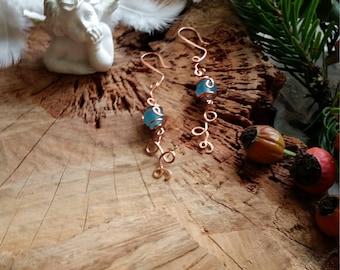 Unique - Boucles d'oreille en jade (Nom communément donné - ici quartzite) et en cuivre par Angel'S SignS