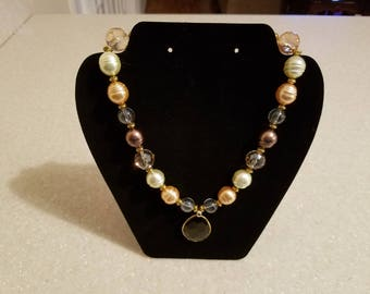 Multi-color Beaded Necklace with Pendant