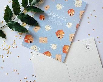 Card Christmas decoration for parties, holiday postcard