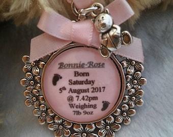 Custom made Personalised Newborn Baby Girl birth birthday Christening keepsake gift present charm