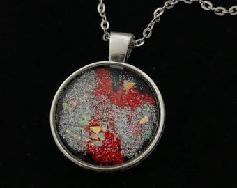 Silver and Red Glitter Glass Pendant Necklace 007