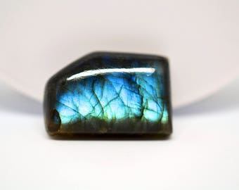Rectangle labradorite cabochon blue and green colors