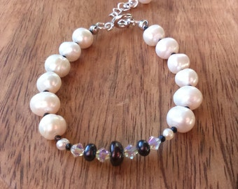 Black Pearl Bracelet, White Freshwater Cultured Pearls, Black Spinel, Clear Swarovski Crystal, Silverplated with Extender Chain