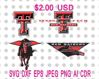 Texas Tech Red Raiders  Logo Svg Dxf Eps Png Jpg Cdr Ai Cut Vector File Silhouette Cameo Cricut Design Vinyl Decal
