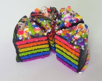 Neon Rainbow + black cake tiny polymer clay charm