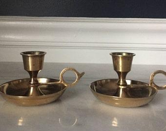 Set of 2 Short Vintage Brass Candlesticks with Handles