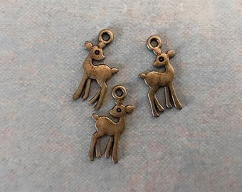 8 Baby Deer Fawn Doe Charms Bronze Tone 21mm x 9mm