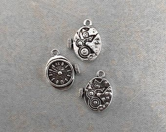 3 Steampunk Clocks with Gears On Back Antique Silver Tone 20mm x 17mm
