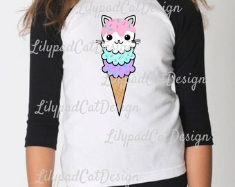 Ice Cream Cat SVG, ice cream svg, cat svg, cute cat svg, rainbow svg, birthday shirt, pastel ice cream, ice cream dxf, cat png, kitty svg.