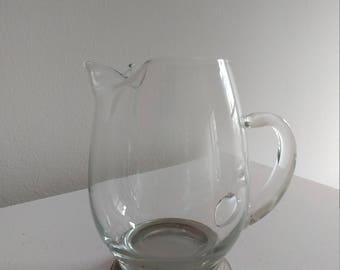 Vintage Glass and Silverplate Drink Pitcher
